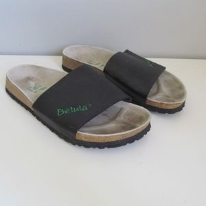 Betula by Birkenstock Black Leather Slide Sandals